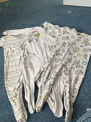 3x Sleep Suits/baby Grows 12-18 Months Next