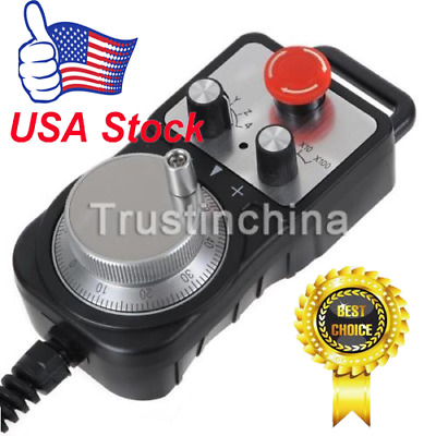 Universal CNC 4 Axis Pendant MPG Handwheel & Emergency stop Switch controller US