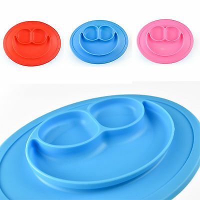 Baby Kids Silicone Mat Happy Dish Suction Table Food Tray Placemat Plate Bowl