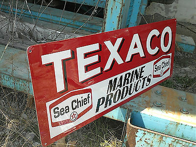 Texaco Marine Products Sign Gasoline Service Station Oil
