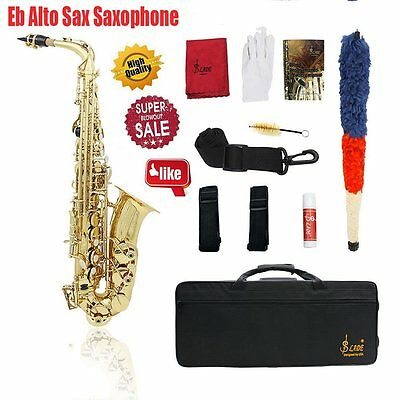 Professional Eb Alto Sax Saxophone Paint Gold with Case and Accessories UK HOT