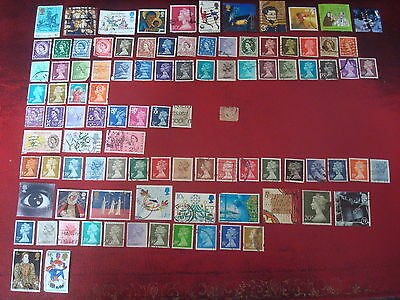 GREAT BRITAIN - 99 BRITISH STAMPS (1) (inc. 1858 1/2d RED) - ALL DIFFERENT