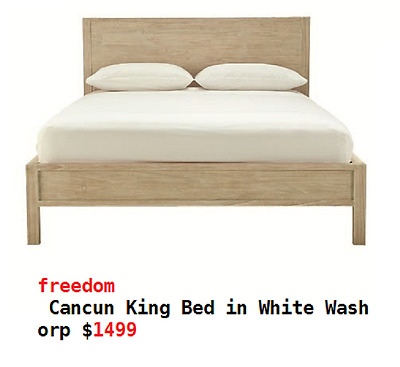 freedom Cancun King Bed in White Wash orp $1499