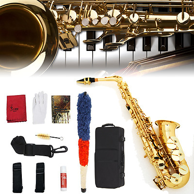Professional Eb Alto Sax Saxophone Beginner Paint Gold with Case and Accessories