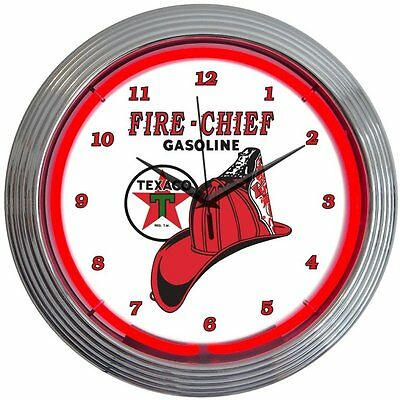"15"" Texaco Fire Chief Neon Clock Neonetics Free Shipping High Quality"
