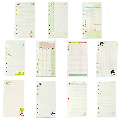 A6 diary refills spiral notebook stationery school planner ring binder paper E1P