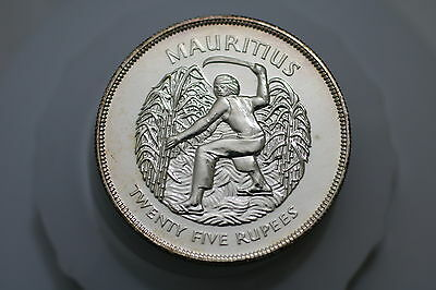Mauritius 25 Rupees 1977 Silver Crown Jubilee A66 Zy44