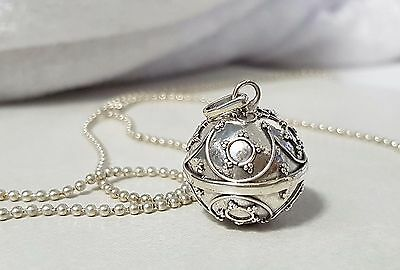 925 STERLING SILVER Stars Harmony Chime Ball Angel Caller Pendant 16mm w/Chain