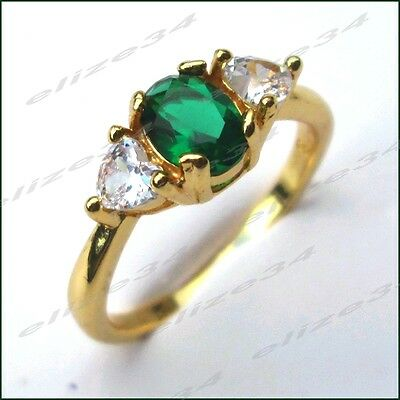 Bague  Emeraude et diamants CZ   Or Jaune GF 18 carats