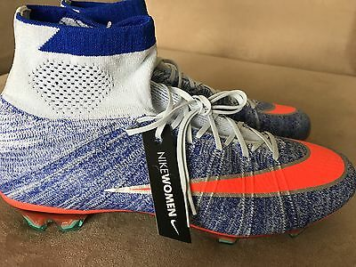 New NIKE MERCURIAL SUPERFLY FG ACC BLUE TINT/ORANGE/RED 718753-464 Women's 9