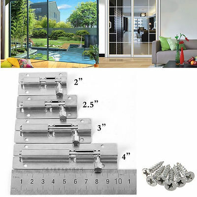 Stainless Steel Door Bolt Barrel Latch Gate Lock Hasp Stapler Safety + Screw