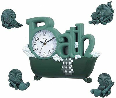 Bath Wall Clock in Green with Four Décor dCOR design Free Shipping High Quality
