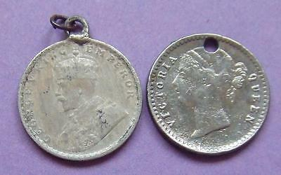 British-India - 2 silver 2 Anna coins- charms, pendants etc................Ju187