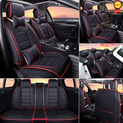 Car SUV 5-Seat PU Leather Seat Covers Front+Rear w/Neck Lumbar Pillow Set BLK/RD