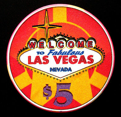 Welcome to Las Vegas poker chip $5 (#158/59**)