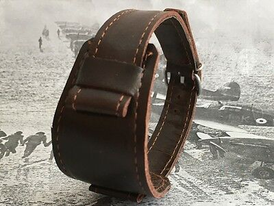 New Leather Band Military Trench Style for Watch Strap 18mm Brown Omega