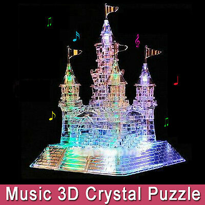 3D DIY Crystal Puzzle Jigsaw Model Castle Town Children Craft Toy Music Flash