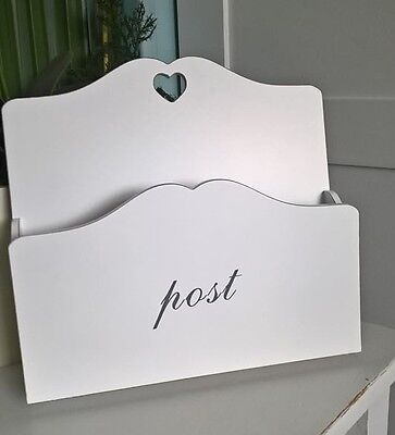 ~NEW~Pretty wall mounted shabby chic 'POST' letter tidy ~ mail rack~