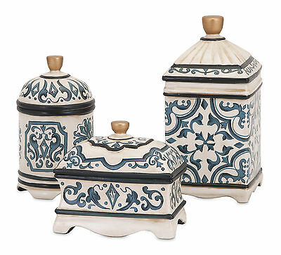 3 Piece Hand Painted Ceramic Boxes Set Astoria Grand Free Shipping High Quality