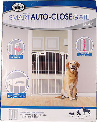 Extra Tall Auto Closing Metal Dog Gate Four Paws Free Shipping High Quality