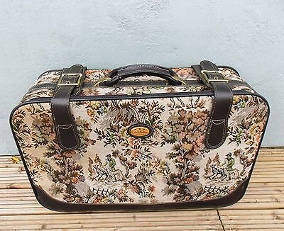 Vintage Retro Constellation Suitcase Tapestry  Faux Leather Trim Wheels Brown