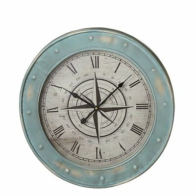 "Round Blue Metal 19.6"" Compass Wall Clock Breakwater Bay Free Shipping"