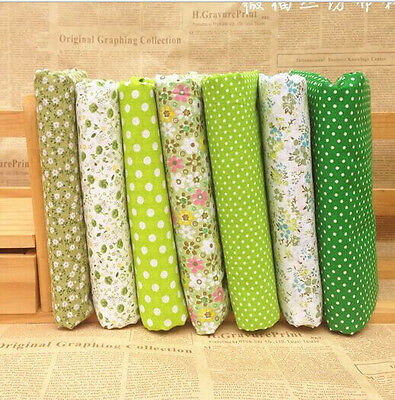 """Craft 7 Assorted Pre Cut Charm 10 """"Squares Quilt Cotton Fabric Patchwork Green"""
