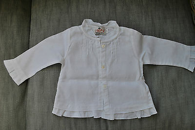 """CHEMISE BLANCHE FILLE 12 mois """"COUDE MAIL"""" 100% LIN, NEUVE !"""