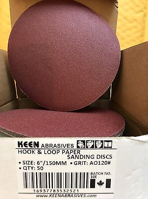 Keen Hook & Loop Sanding Discs, 6 In, 120 Grit, 32521 (50/pack)