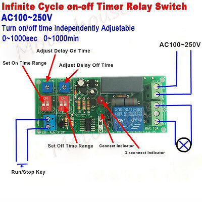 AC 110V 120V 220V 230V Cycle Delay Timing Timer Relay Switch Turn ON/OFF Module
