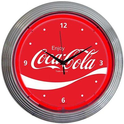 "Drinks 15"" Coca Cola Wave Wall Clock Neonetics Free Shipping High Quality"