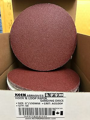 KEEN HOOK & LOOP SANDING DISCS sandpaper, 6 IN, 100 GRIT, 32514 (50/PACK)