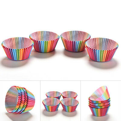 100pcs Rainbow Cupcake Liner Baking Cup Paper Muffin Case Cake Box Tray Mold New