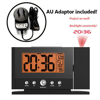 New Digital Snooze Alarm Clock Wall Time Projector Projection Clocks + AU Plug