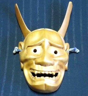 JAPANESE ANTIQUE HANNYA MASK DEMON NOH BUDDHA DEVIL LACQUER ONI r374