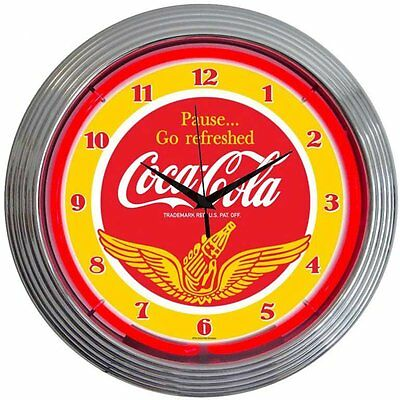 "Drinks 15"" Coca Cola Wings Wall Clock Neonetics Free Shipping High Quality"