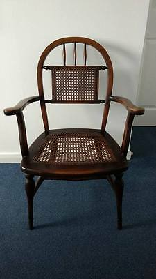 Antique Vintage Elm Country Cane work Armchair
