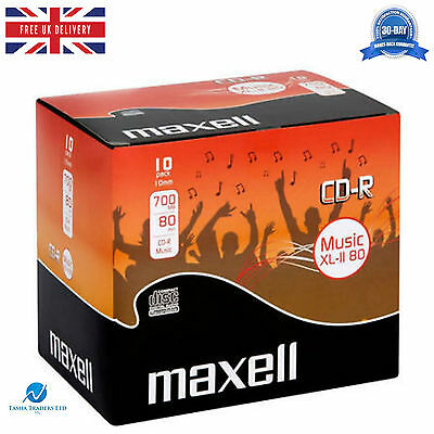 Maxell CD-R Audio Blank CDR XL-II 80 10 pack Jewel Cased Audio Music CD's NEW