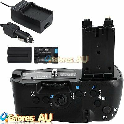 Battery Grip Pack Holder+ 2xFM500H Battery+Charger For Sony A77 A77V A77II A99II
