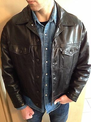 Levis Trucker Leder Jacke Lederjacke Leather jacket Schwarz Black Kult USA XL