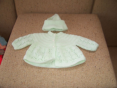 New Hand Knitted Baby Jacket & Beanie Pale Green 0 -3 Mths App