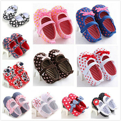 Toddler Baby Prewalker Shoes Newborn Soft Sole Princess Girl Crib Pram Shoes