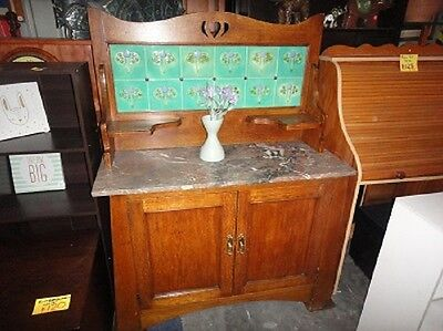 Antique Washstand cupboard with marble top and vintage tiles
