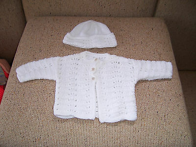 New Hand Knitted Baby Jacket & Beanie White 3 -6  Mths App