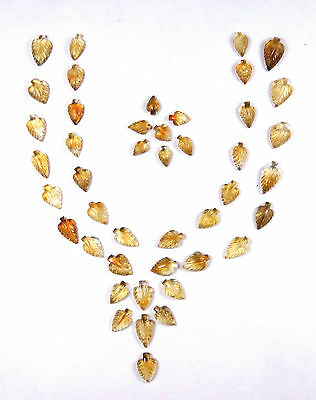 110 CTS Natural Citrine Carved Leaf hand Crafted Leaves 63 Pieces Lot Carving