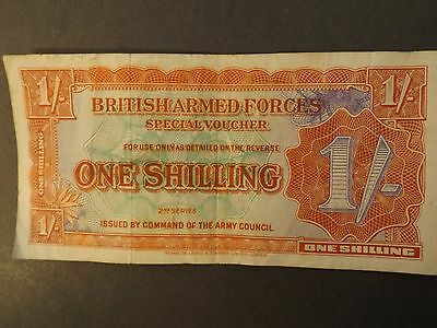 British Armed Forces 1 Shilling Bank Note 2Nd Series Crisp But Used