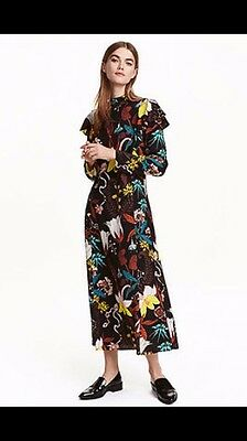 Sold Out New H&M Floral Pattered Dress Size UK12 Maxi Ruffle Fashion Blogger