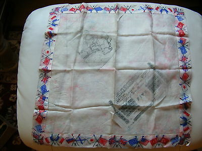 Antique Silk Handkerchief Flags Of WW1 India Map India Five Rupees Banknote 1907