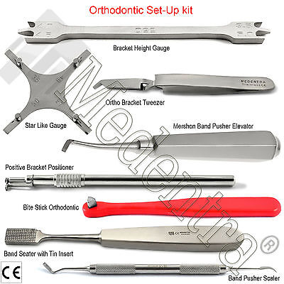Orthodontic Banding Tray Set-up Pusher Seater Band Seating Bracket Gauge Tweezer