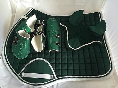 Quality Quilted Dark Green/White Edging Matching Set-Numnah/veil/boots - FULL